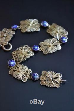 Chinese Vintage Exquis Filigrane Argent Cloisonné Fleur D'or Wash Bracelet