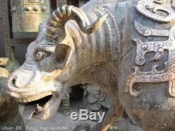 Chinois Ancien Bronze Cuivre Vermeil Vilain Bête Veine Boeuf Statue De Dieu