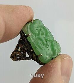 Chinois Antique Qing/ République Céladon Jade & Silver Gilt Dragon Ring Réglable
