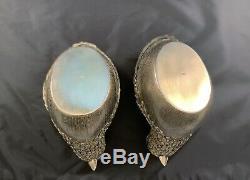 Chinois Antique Sterling Silver Box Quail Or Gilt Paire Boîte À Bijoux