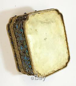 Chinois Argent Doré Filigrane Émail Et Pierre Semi-précieuse Potpourri Box, C1900
