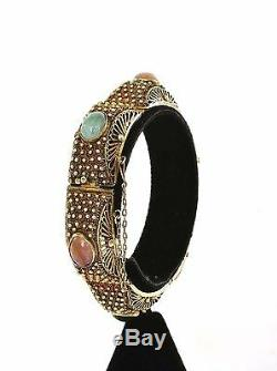 Chinois Argent Doré Filigrane Jade Jadéite Épinards Rose Quartz Bracelet