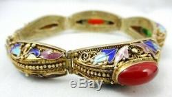 Chinois D'exportation Asiatiques Cornaline Émail Vermeil- Bracelet En Argent Sterling Vntg