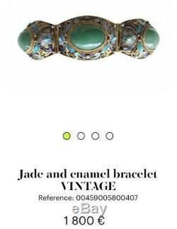 Chinois D'exportation Des Années 1940 En Émail Cloisonné En Argent Sterling Doré Jade Bague Bracelet