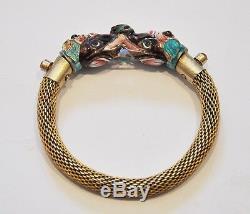 Chinois D'exportation En Argent Doré Émail Bracelet Bijoux Dragon De Chine Elephant