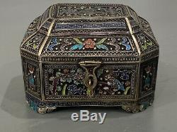 Chinois D'exportation Gilt Argent Filigrane Émail Émaillé Footed Tea Caddy Box, C1900