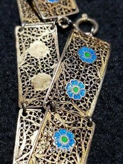 Chinois D'importation Or Argent Filigrane Bracelet En Émail Bleu Vert Fleurs