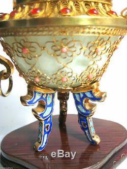 Chinois Dragon Urne Or Gilt Argent 925 Filigrane Bijoux Jade Bowl