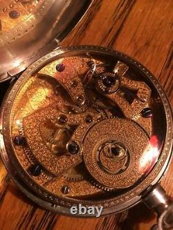 Chinois Duplex Pocket Watch 18/20 Size Coin Silver Case Gilded Movement Runs