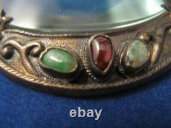 Chinois Gild Silver Et Craved Open Travail Hetian Jade Handle Loupe