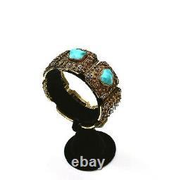 Chinois Gilt 800 Silver Filigree Turquoise Bead Bracelet Bangle Calligraphie