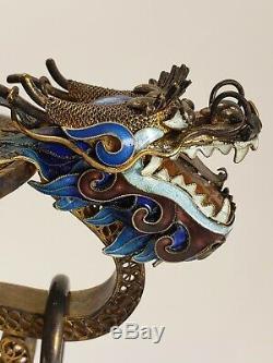 Chinois Gilt Argent Filigrane & Jade Enameled Encensoir Turquoise Cornaline Dragons