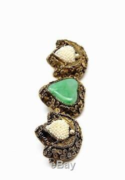Chinois Gilt Argent Filigrane Jade Jadéite Graine Sculpté Perle Perle Broche