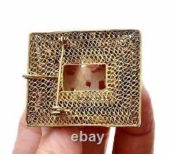Chinois Gilt Argent Massif Filigrane Serpentine Pin Pendentif De Broche Non Jade
