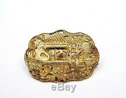 Chinois Gilt Argent Sterling Broche 1930 Pin Garden Scene Figurine Mk