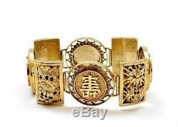 Chinois Gilt Argent Sterling Filigrane Bracelet Lien Médaillon Calligraphie