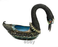 Chinois Gilt Silver Filigree & Enamel Figural Swan Bowl, 1ère Moitié 20ème Siècle