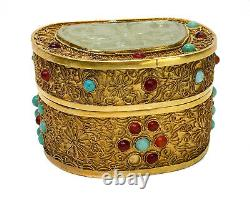Chinois Gilt Silver Filigree Jade Et Applied Cabochon Jeweled Box