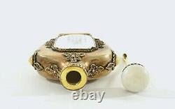 Chinois Gilt Solid Silver Mother Of Pearl Parfum Snuff Bouteille Calligraphie Mk
