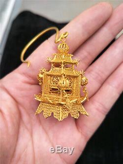 Chinois Oreille En Argent Doré Ornement Goutte D 39 Ore Ancien Motif Royal Pavillon Oreille