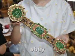 Chinois Pur Argent Or 24 Carats Gilt Inlay Vert Jade Gemme Chanceux Ruyi Statue De Vœux