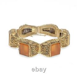 Chinois Silver Gilt & Carnelian Bracelet Filigree Design Vintage Républicain
