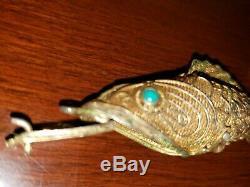 Chinois Vintage Articulé Vermeil Filigrane Poisson Pomader Collier Pendentif