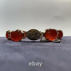 Chinois Vintage Silver Carnelian Bead Bracelet Gold Wash
