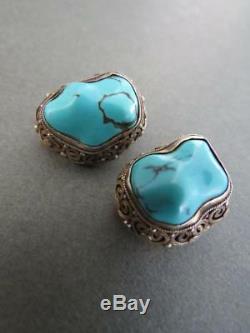 Clip En Filigrane Boucles D'oreilles Vintage Turquoises Chinoises En Argent Doré