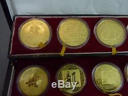 Coffret De 12 Médailles Chinoises En Argent Massif Doré Et Animaux De Zodiaque 1981-1992