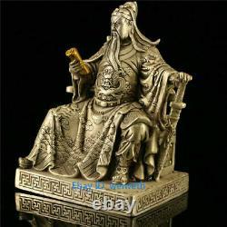 Collection Chinese Tibet Silver Gilt Guan Gong Guan Yu Reading Book Statue