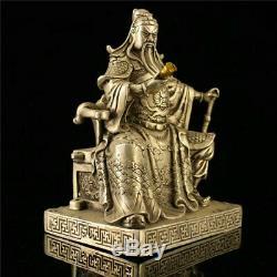Collection En Cuivre Doré Chinois Guan Gong Guan Yu Lecture Statue Livre