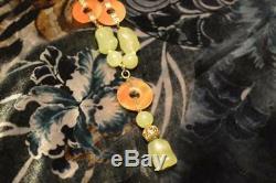 Collier Antique Chinois En Jade De Cornaline Et Chrysoprase En Argent Doré
