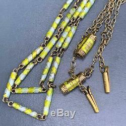 Collier Chaine Perlée Vintage En Argent Doré Avec Émail, Chine - Lot De 2