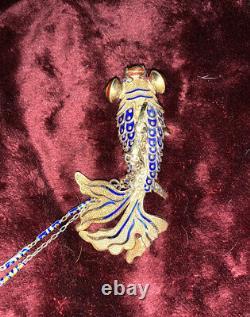 Collier Chinois De Poisson Mobile Argenté Articulé Vintage