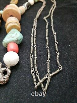 Collier Chinois Vintage De Perles De Charme D'os De Jade D'argent