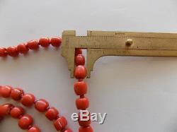 Collier De Corail Tibétain Naturel Rouge Saumon Non Traité Vintage, Fermoirs En Argent Doré