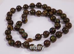 Collier De Perles Antique Vintage Jumbo En Argent Doré Avec Cloisonné