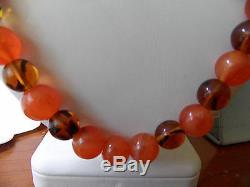 Collier De Perles De Cornaline Et D'ambre Sculptées En Filigrane D'argent Vintage Doré De Chine