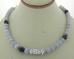 Collier De Perles En Agate Lavande Polie Et Doré Vintage