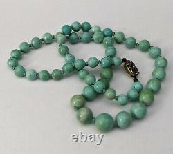 Collier De Perles Turquoise Chinoise Antique Silver Gilt Export Fermoir