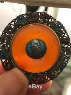Collier En Argent Doré Avec Filigrane D'or De Jadéite Rouge Jadeite Antique D'exportation Chinoise