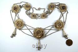Collier Floral Antique Victorien Antique D'argent Doré De Filigree