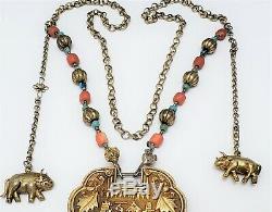 Collier Vintage En Argent Avec Turquoises Et Corail, Turquoise Chinoise