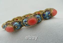 Corail Chinois & Enamel Argent Sterling / Bracelet En Filigre De Vermeil D'or