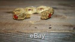 Cornaline Bracelet En Argent Sterling Panneau Chinois Vintage Gilt Vermeil Filigrane