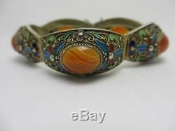 Cornaline Émail En Argent Sterling Doré Bracelet Chinois Vintage C1930 Tbj00153