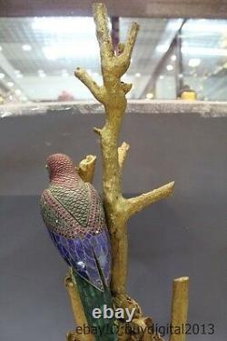 Costful 29chinese Bronze 24k Or Argent Jade Gem Bluestone Carved Bird Statue