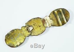 Crochet De Boucle De Ceinture De Ceinture En Bronze Doré 18ème / 19ème Antique Qing Dynasty Chinois Chine