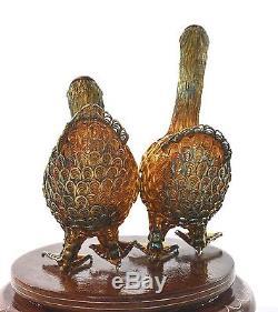 Cygne À Oiseaux En Filigrane D'époque En Argent Sterling Doré D'époque Vintage 2 Marqué